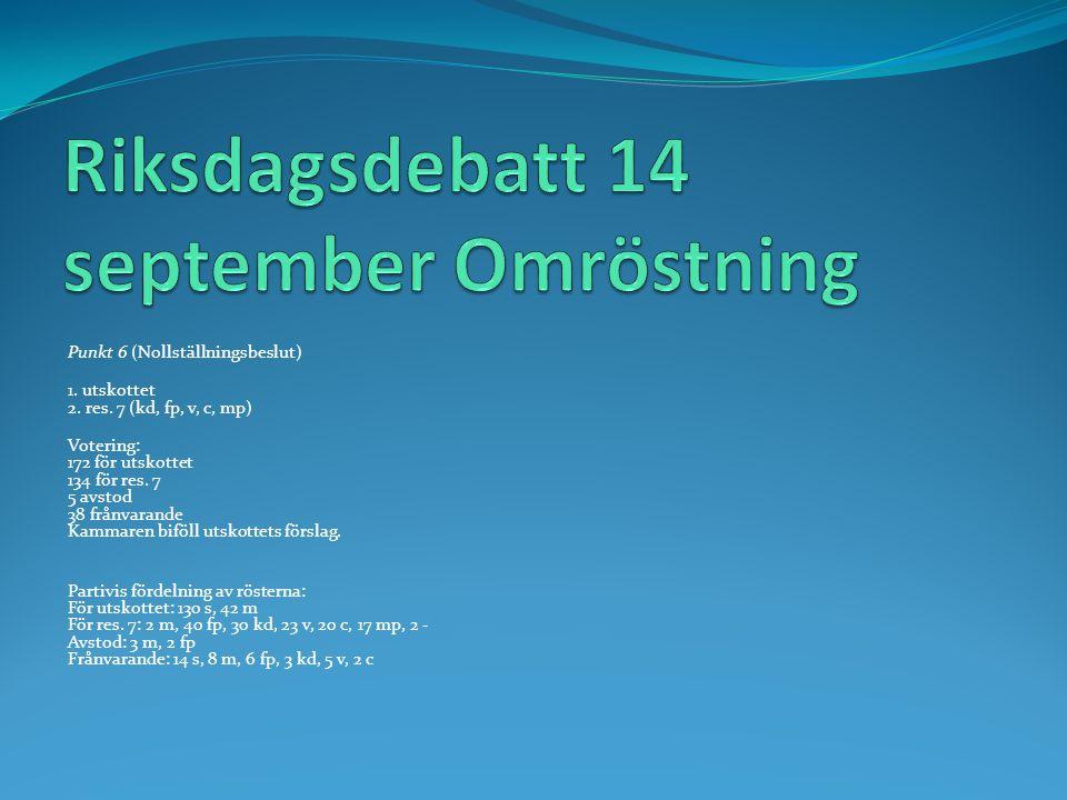 Riksdagsdebatt 14 september Omröstning