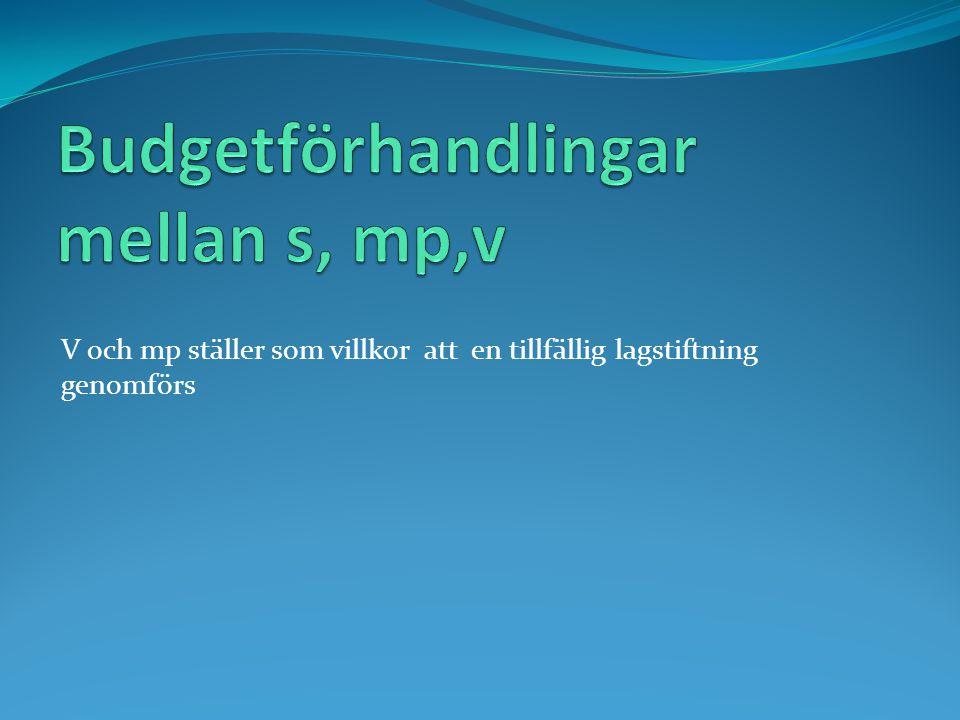 Budgetförhandlingar mellan s, mp,v