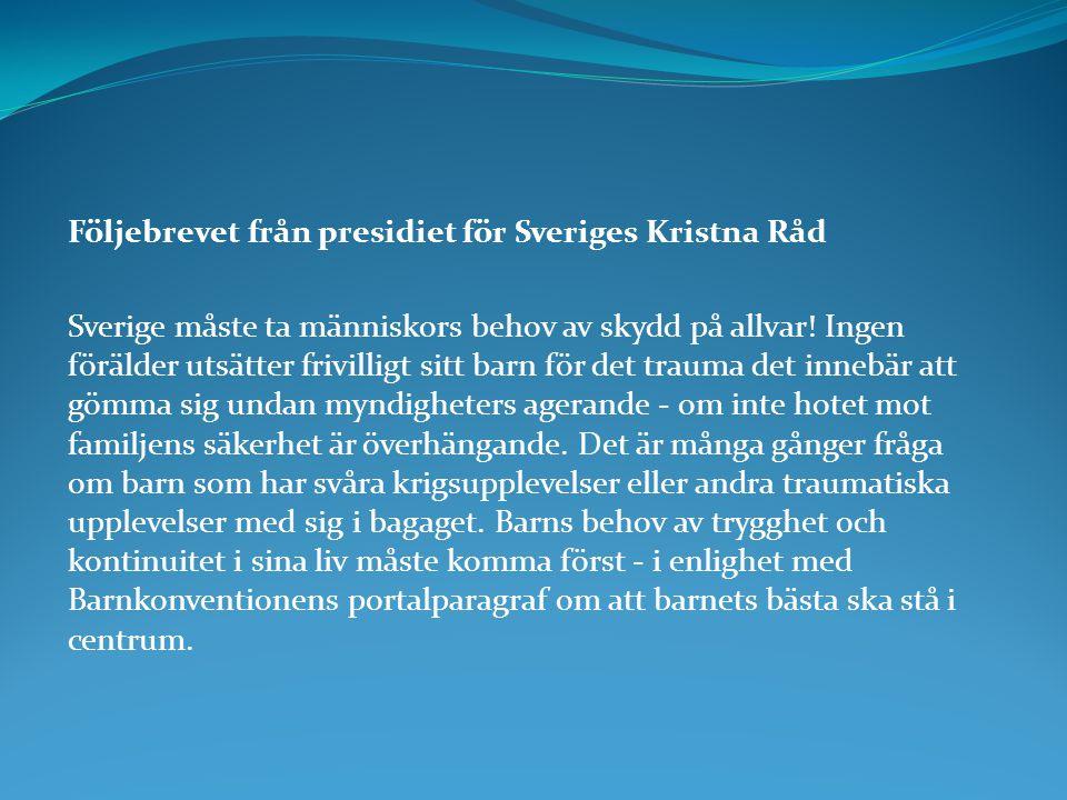 Följebrevet från presidiet för Sveriges Kristna Råd