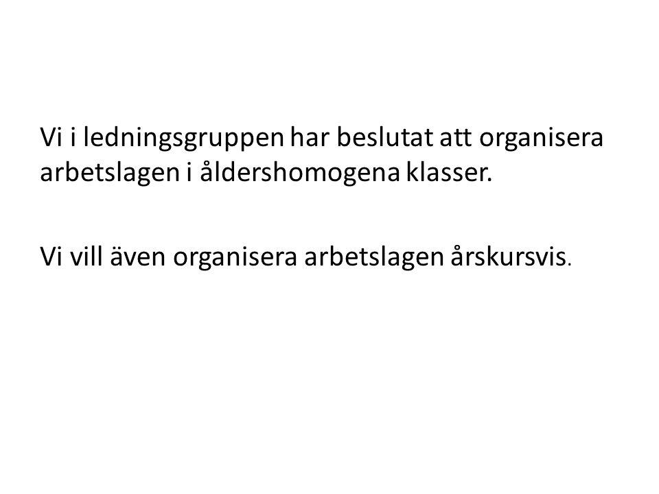 Vi i ledningsgruppen har beslutat att organisera arbetslagen i åldershomogena klasser.