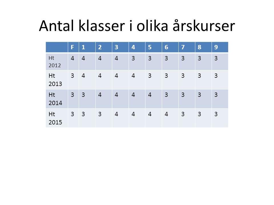 Antal klasser i olika årskurser