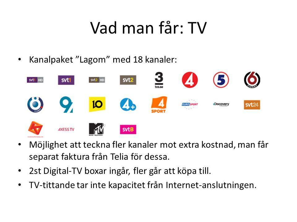 Vad man får: TV Kanalpaket Lagom med 18 kanaler: