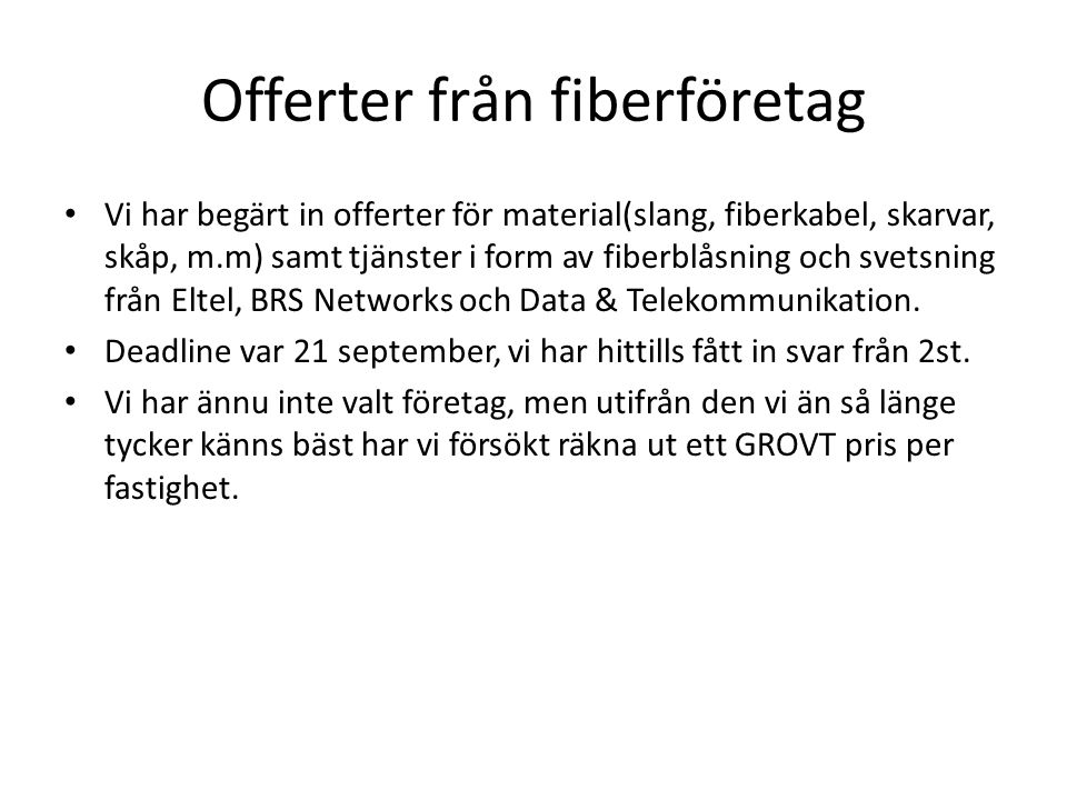 Offerter från fiberföretag