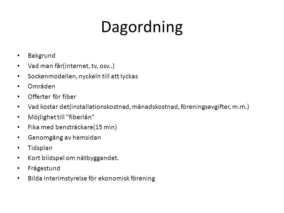 Dagordning Bakgrund Vad man får(internet, tv, osv..)