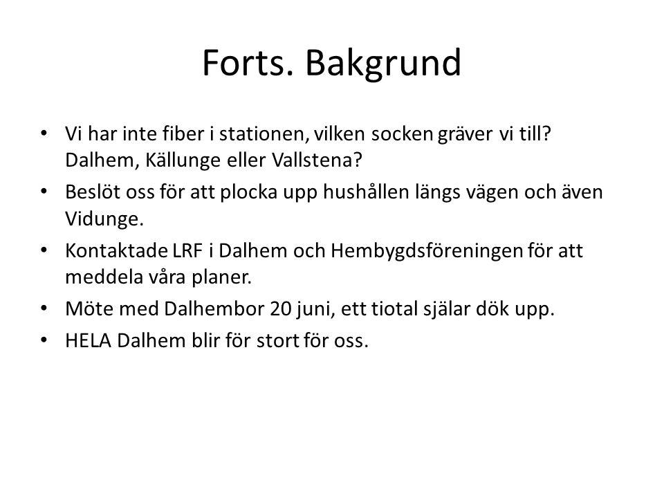 Forts. Bakgrund Vi har inte fiber i stationen, vilken socken gräver vi till Dalhem, Källunge eller Vallstena