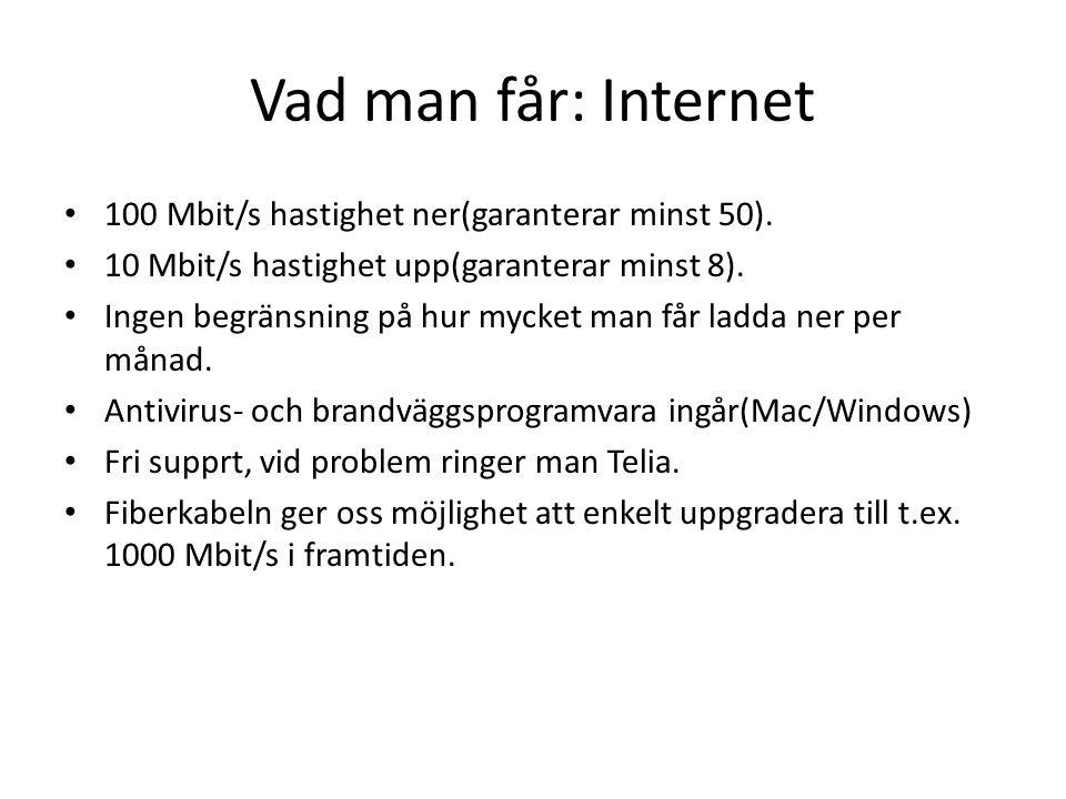 Vad man får: Internet 100 Mbit/s hastighet ner(garanterar minst 50).