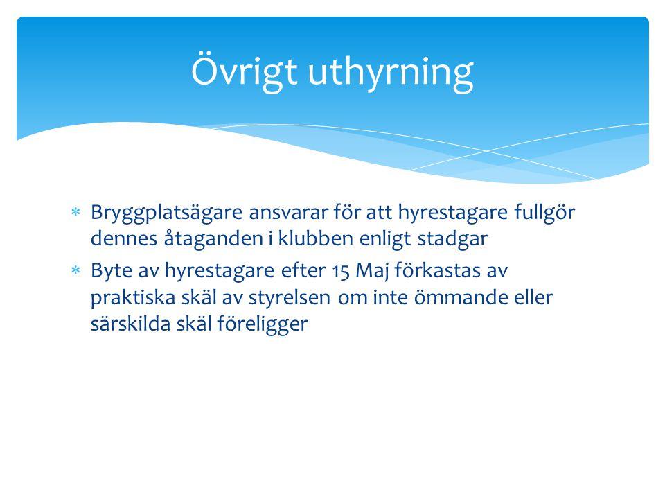 Övrigt uthyrning Bryggplatsägare ansvarar för att hyrestagare fullgör dennes åtaganden i klubben enligt stadgar.
