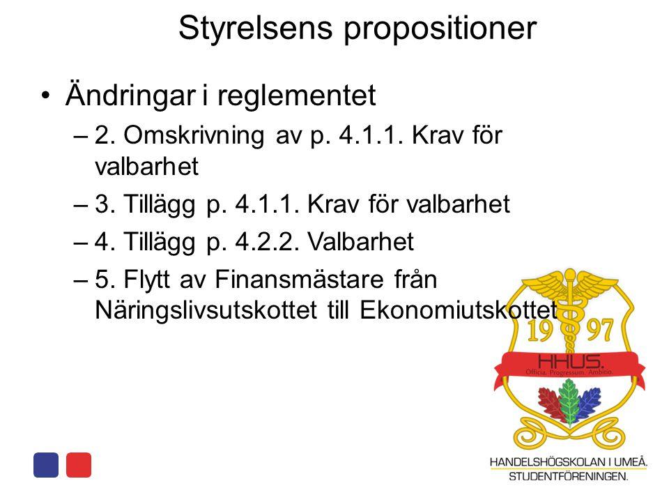 Styrelsens propositioner