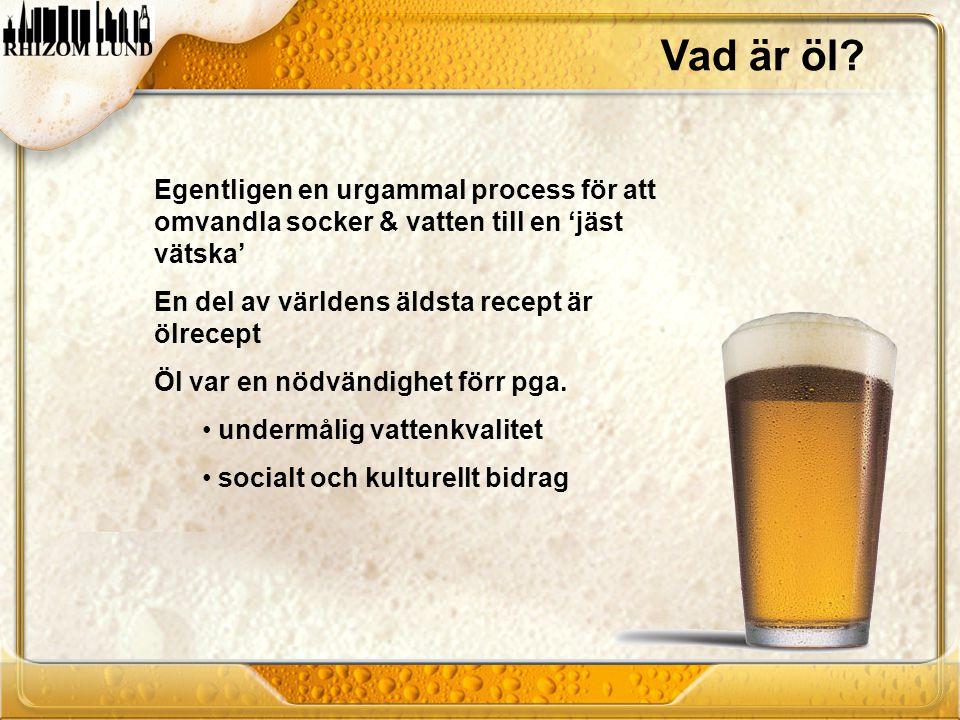 Vad är öl Egentligen en urgammal process för att omvandla socker & vatten till en 'jäst vätska' En del av världens äldsta recept är ölrecept.