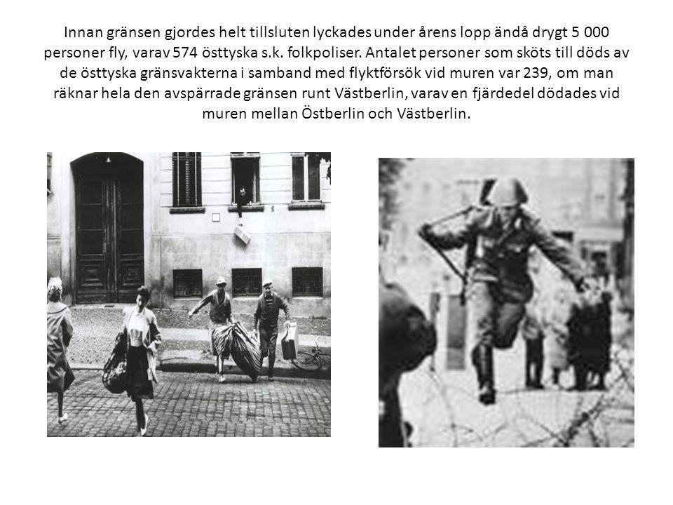 Innan gränsen gjordes helt tillsluten lyckades under årens lopp ändå drygt 5 000 personer fly, varav 574 östtyska s.k.