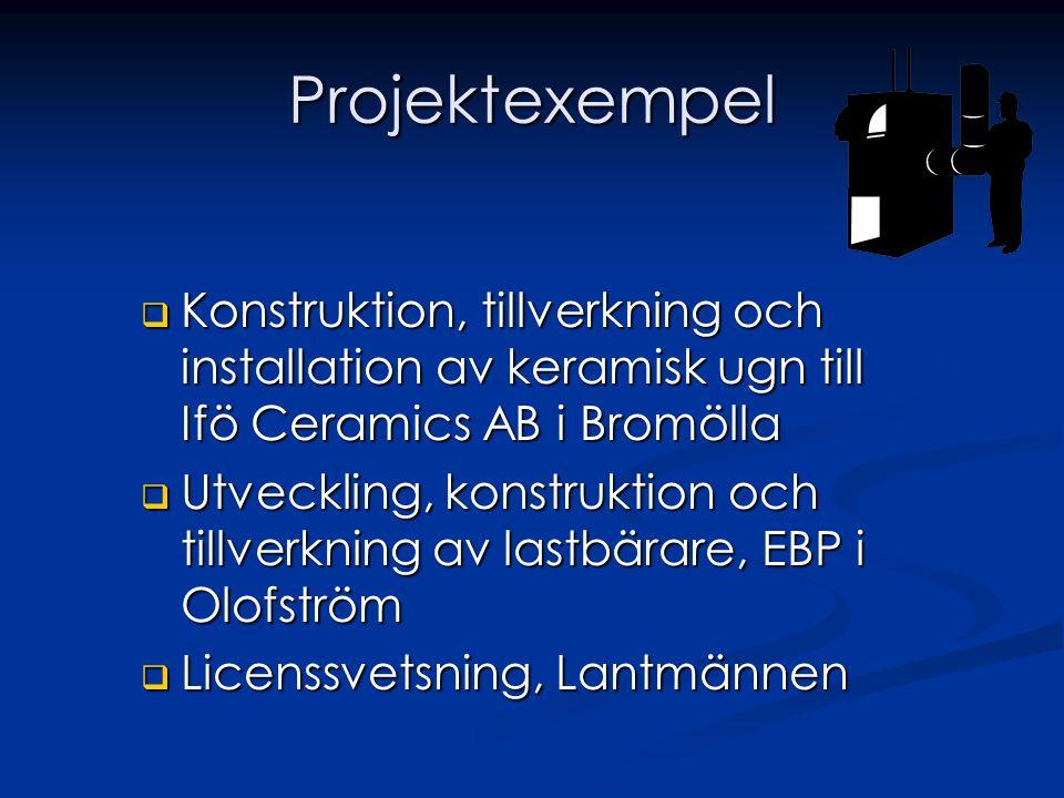 Projektexempel Konstruktion, tillverkning och installation av keramisk ugn till Ifö Ceramics AB i Bromölla.