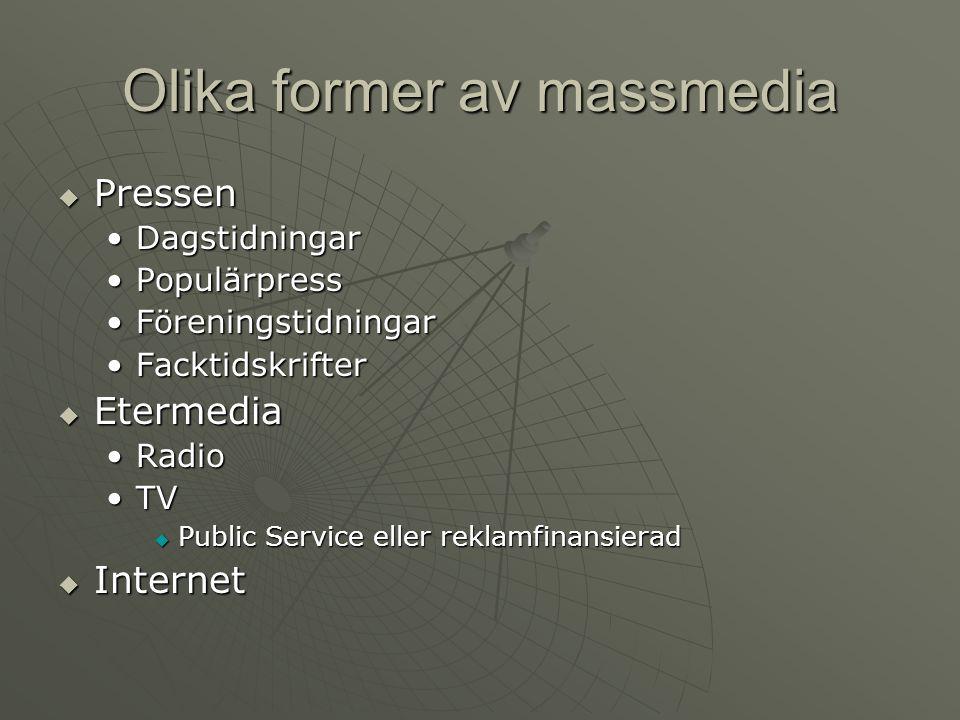 Olika former av massmedia