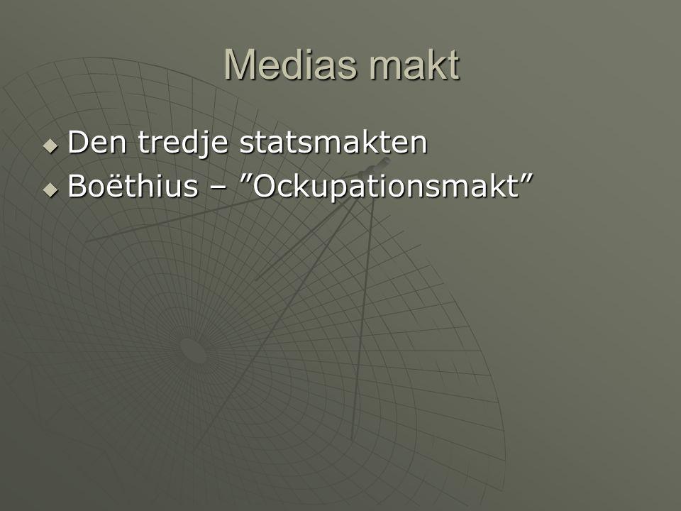 Medias makt Den tredje statsmakten Boëthius – Ockupationsmakt