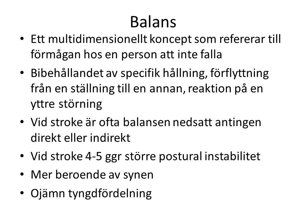Balans Ett multidimensionellt koncept som refererar till förmågan hos en person att inte falla.