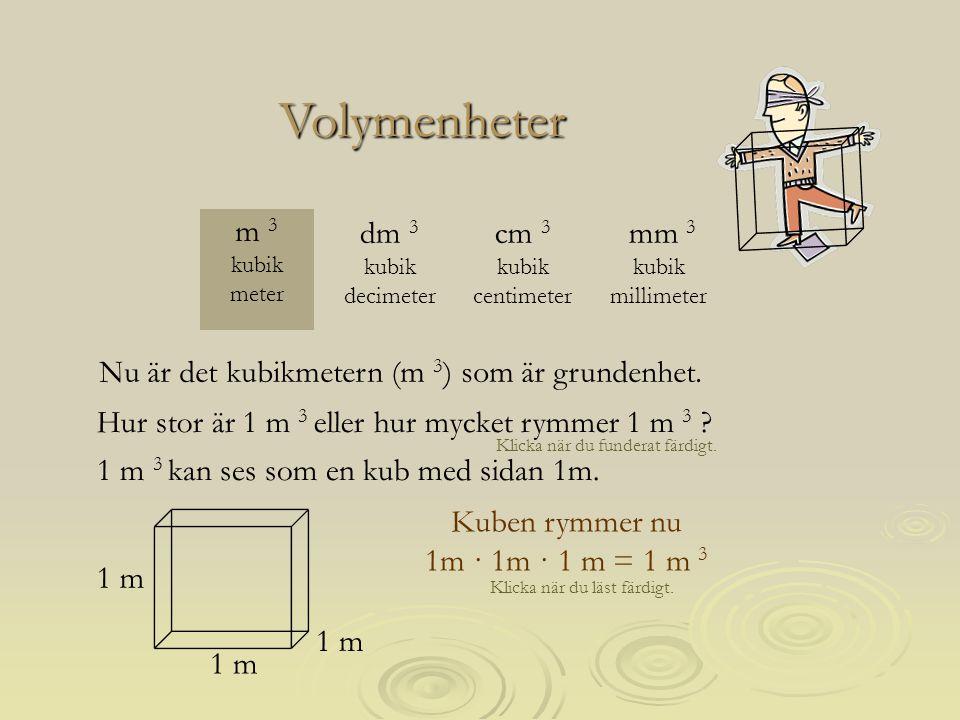 Volymenheter m 3 kubik meter dm 3 kubik decimeter