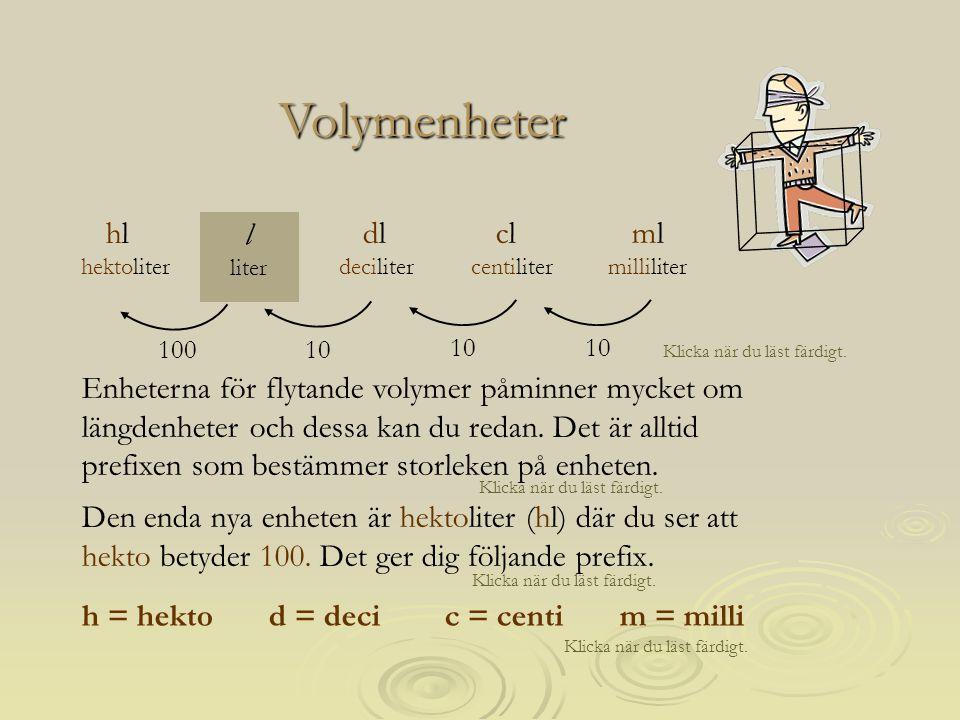 Volymenheter hl hektoliter l liter dl deciliter cl centiliter