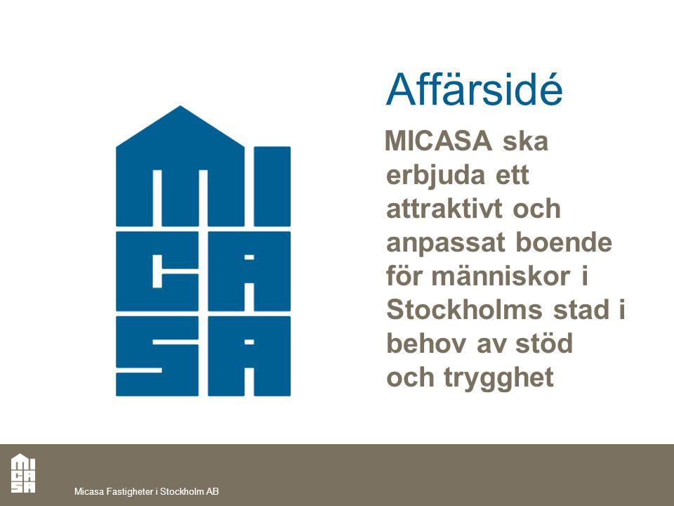 Affärsidé MICASA ska erbjuda ett attraktivt och anpassat boende för människor i Stockholms stad i behov av stöd och trygghet.
