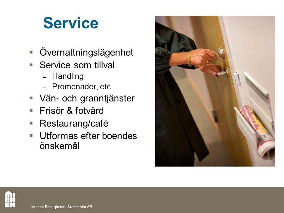 Service Övernattningslägenhet Service som tillval