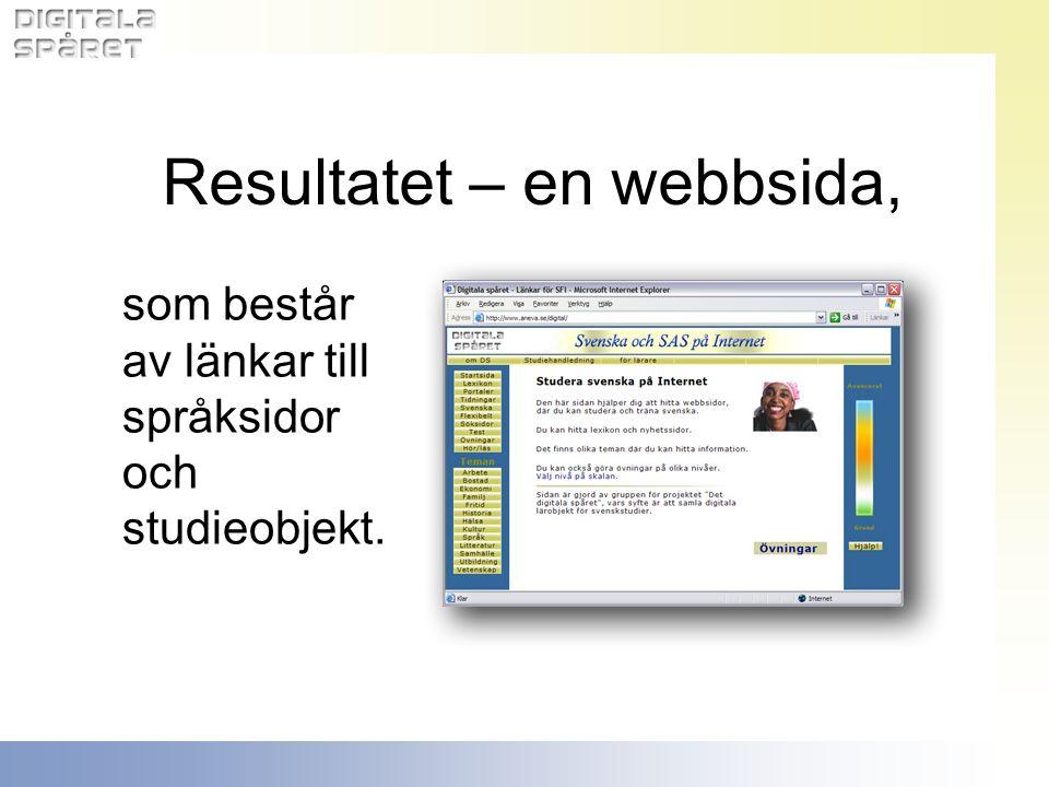 Resultatet – en webbsida,