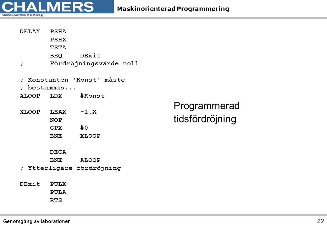 Programmerad tidsfördröjning