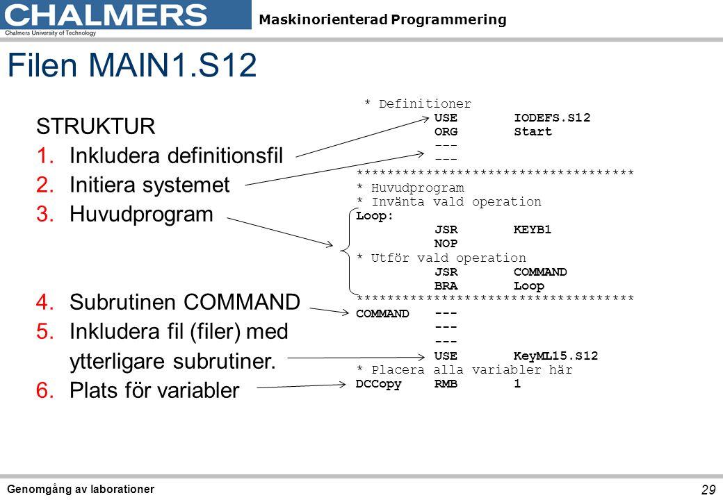 Filen MAIN1.S12 STRUKTUR Inkludera definitionsfil Initiera systemet