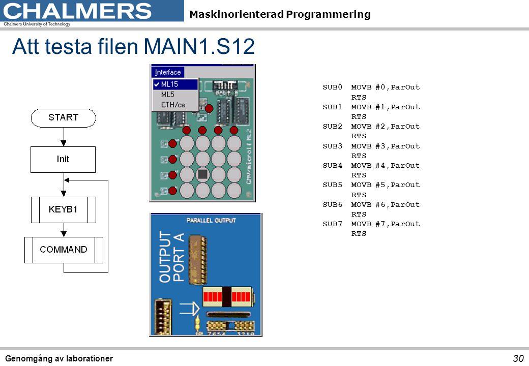 Att testa filen MAIN1.S12 SUB0 MOVB #0,ParOut RTS SUB1 MOVB #1,ParOut