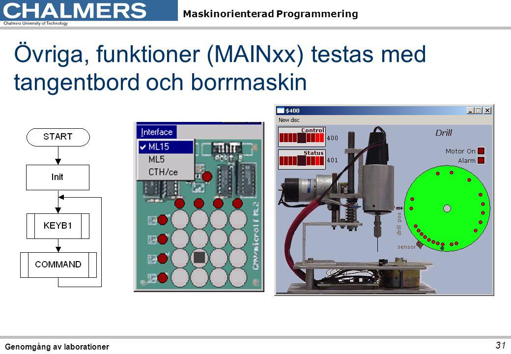 Övriga, funktioner (MAINxx) testas med tangentbord och borrmaskin