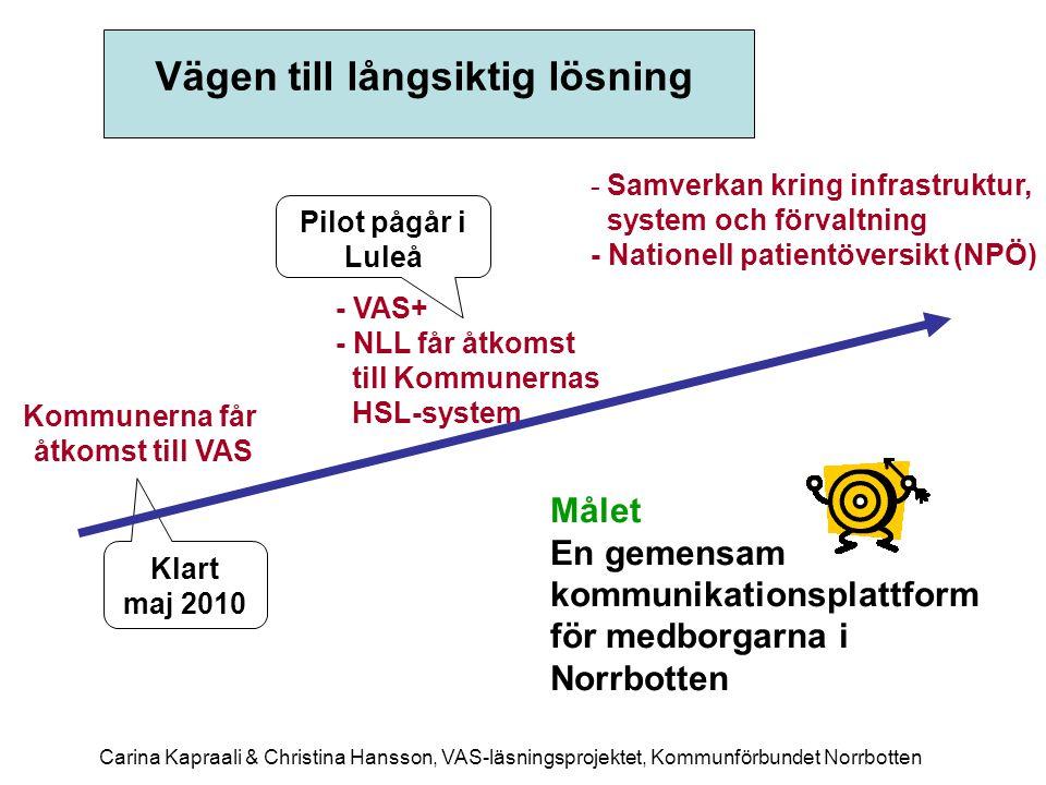 Vägen till långsiktig lösning Kommunerna får åtkomst till VAS