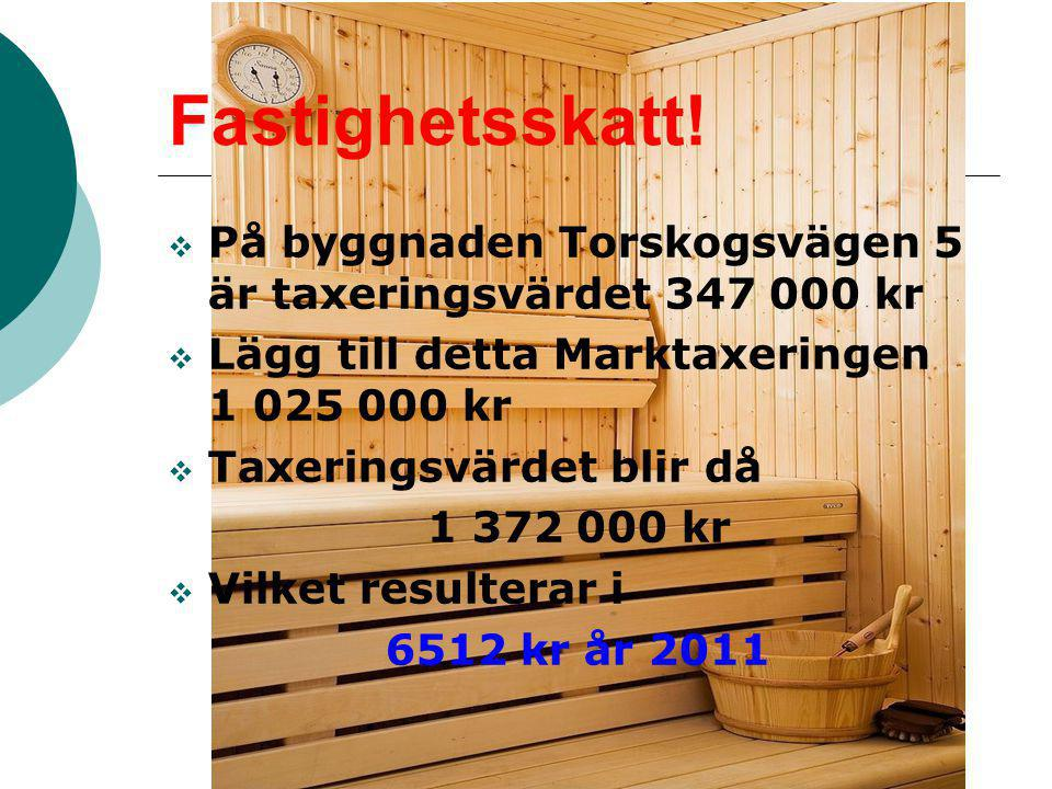 Fastighetsskatt! På byggnaden Torskogsvägen 5 är taxeringsvärdet 347 000 kr. Lägg till detta Marktaxeringen 1 025 000 kr.