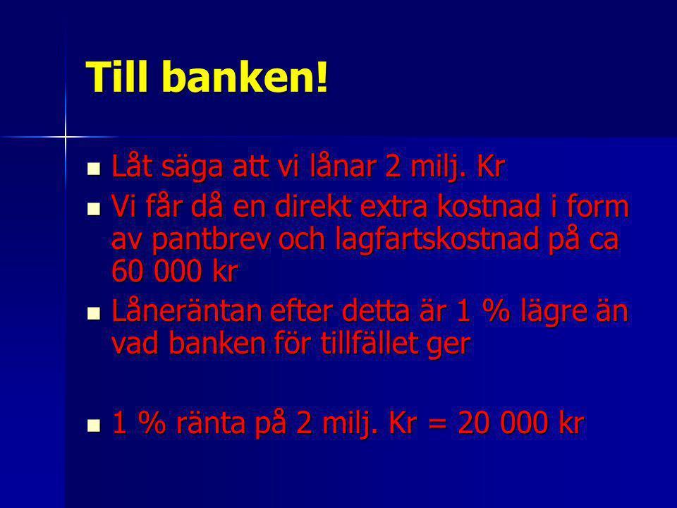 Till banken! Låt säga att vi lånar 2 milj. Kr