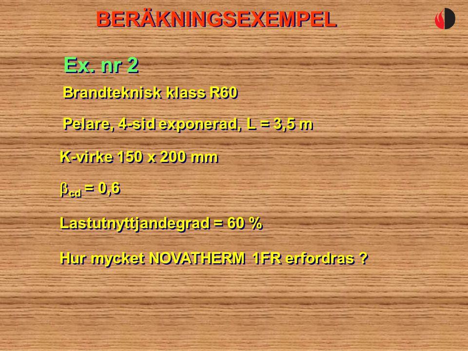 BERÄKNINGSEXEMPEL Ex. nr 2 Brandteknisk klass R60
