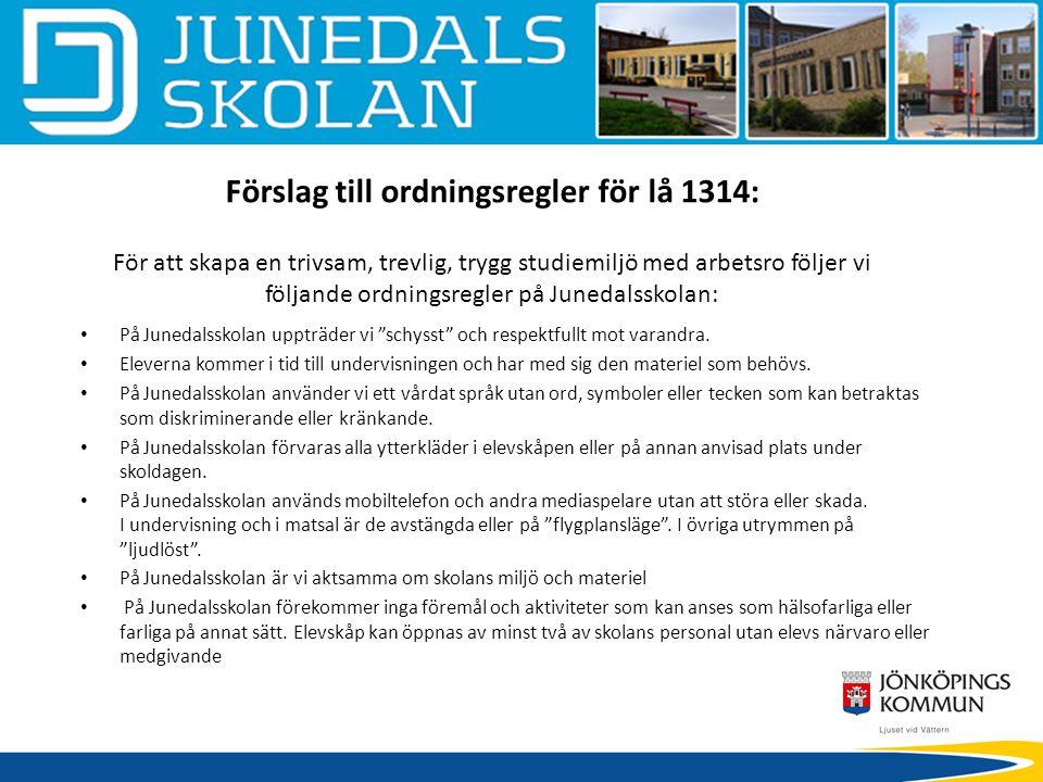 Förslag till ordningsregler för lå 1314: För att skapa en trivsam, trevlig, trygg studiemiljö med arbetsro följer vi följande ordningsregler på Junedalsskolan: