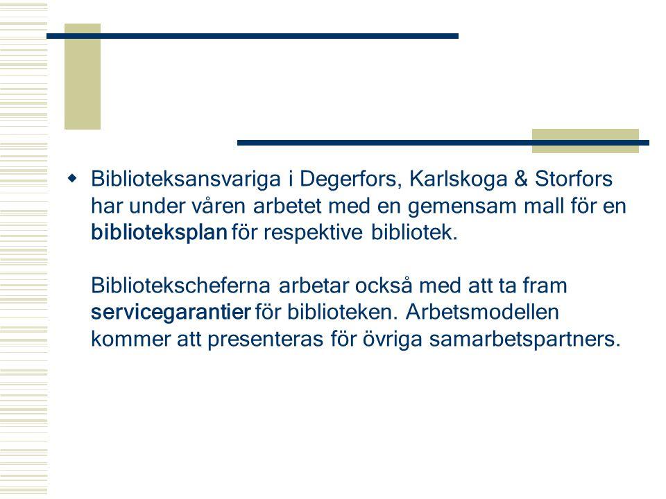 Biblioteksansvariga i Degerfors, Karlskoga & Storfors har under våren arbetet med en gemensam mall för en biblioteksplan för respektive bibliotek.