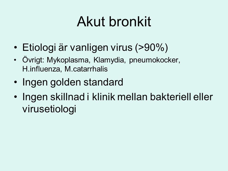 Akut bronkit Etiologi är vanligen virus (>90%)