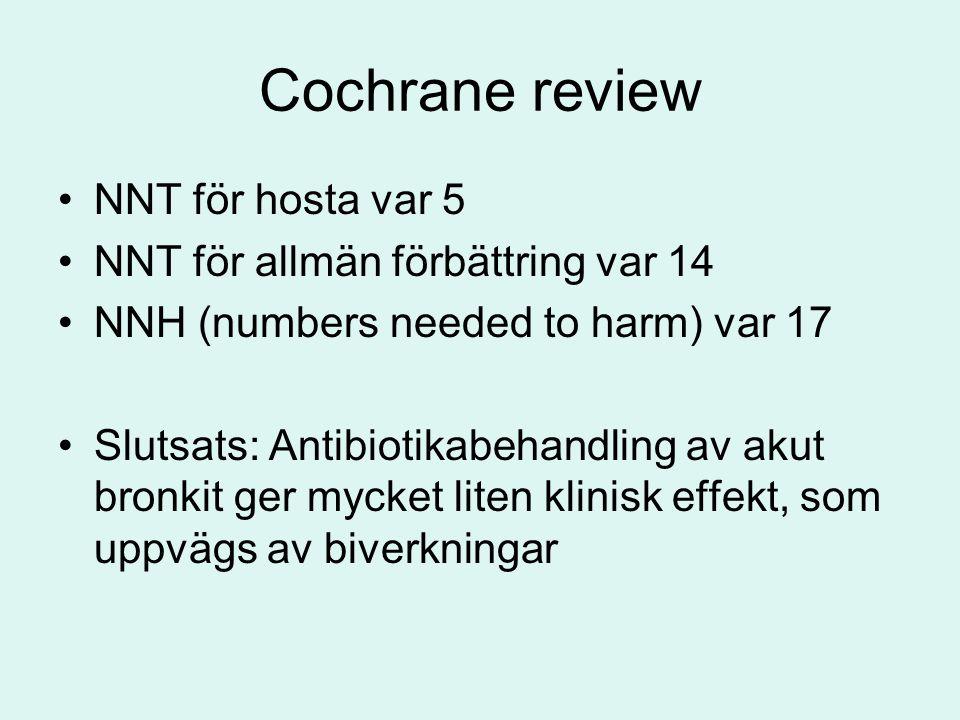 Cochrane review NNT för hosta var 5 NNT för allmän förbättring var 14