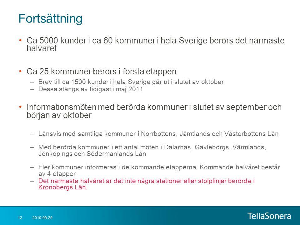 Fortsättning Ca 5000 kunder i ca 60 kommuner i hela Sverige berörs det närmaste halvåret. Ca 25 kommuner berörs i första etappen.