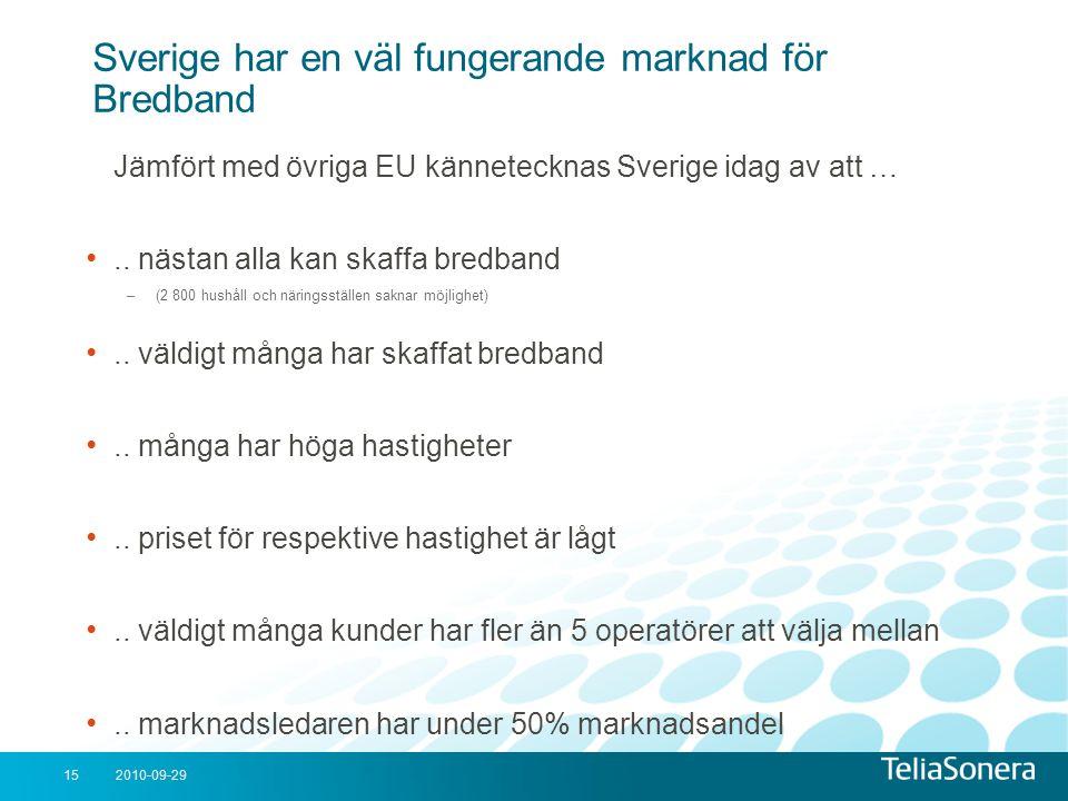 Sverige har en väl fungerande marknad för Bredband