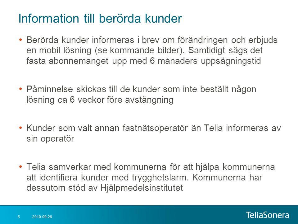 Information till berörda kunder