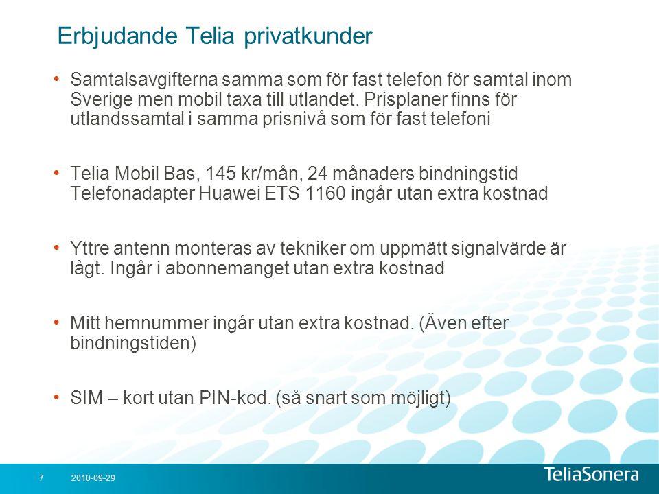 Erbjudande Telia privatkunder
