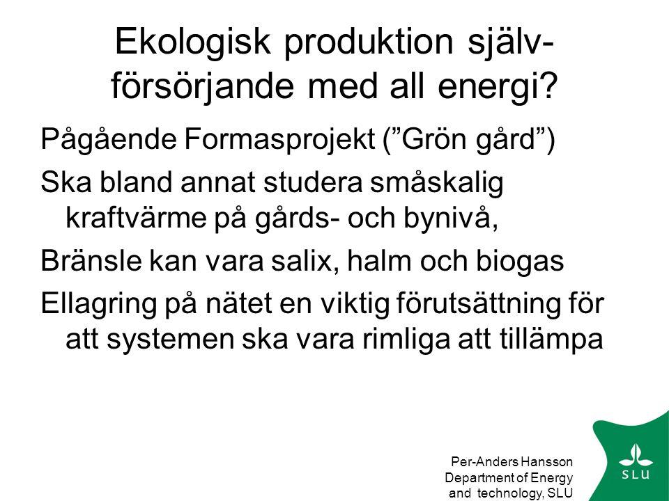 Ekologisk produktion själv-försörjande med all energi