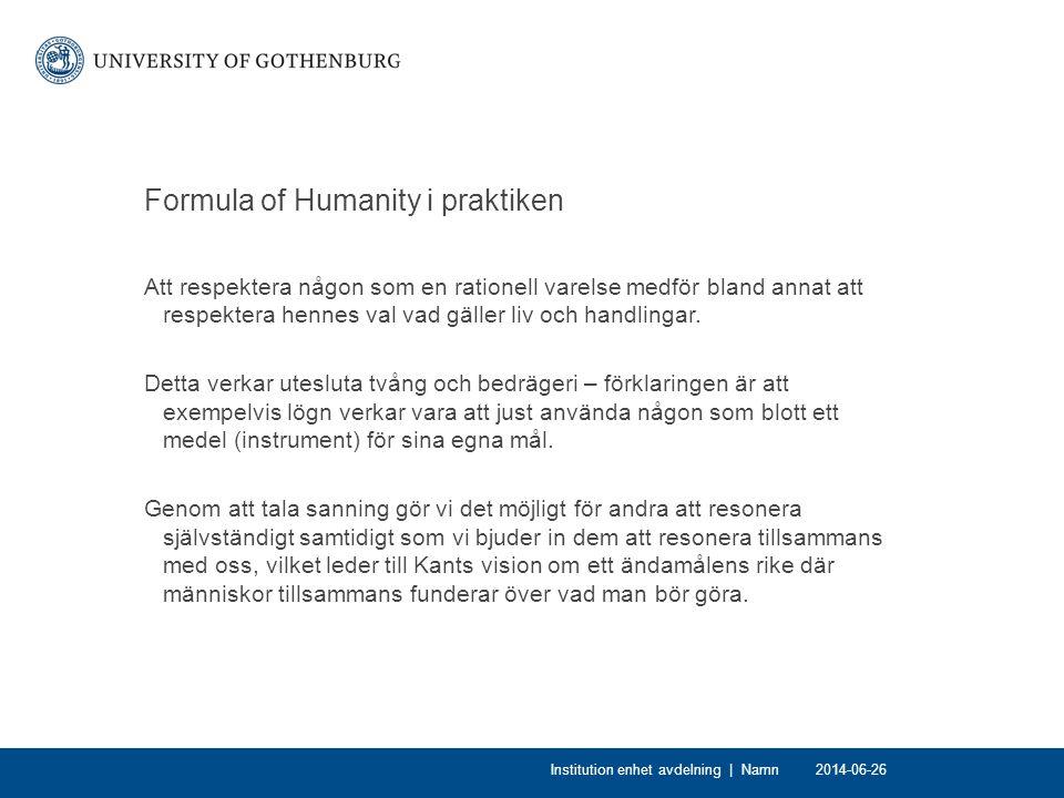 Formula of Humanity i praktiken