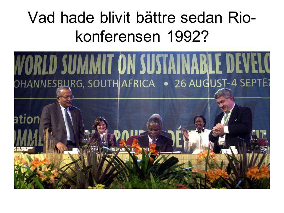 Vad hade blivit bättre sedan Rio-konferensen 1992