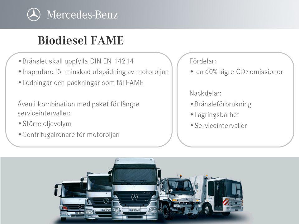 Biodiesel FAME Bränslet skall uppfylla DIN EN 14214