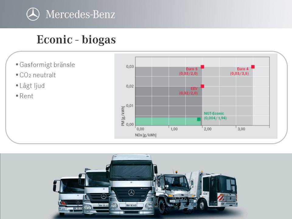 Econic - biogas Gasformigt bränsle CO₂ neutralt Lågt ljud Rent