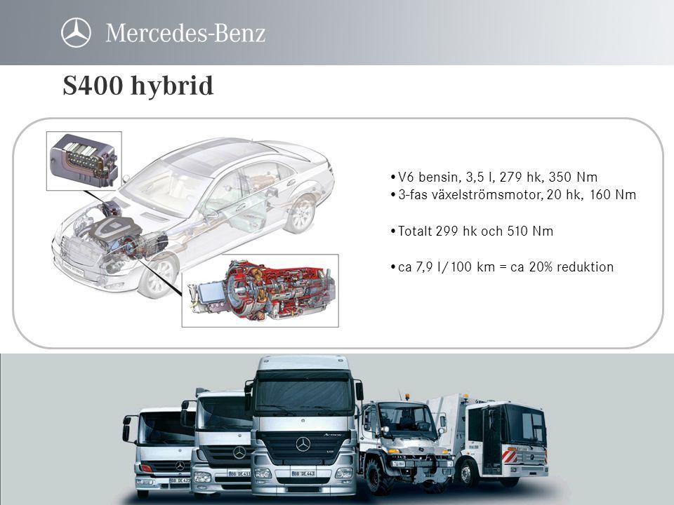 S400 hybrid V6 bensin, 3,5 l, 279 hk, 350 Nm. 3-fas växelströmsmotor, 20 hk, 160 Nm. Totalt 299 hk och 510 Nm.
