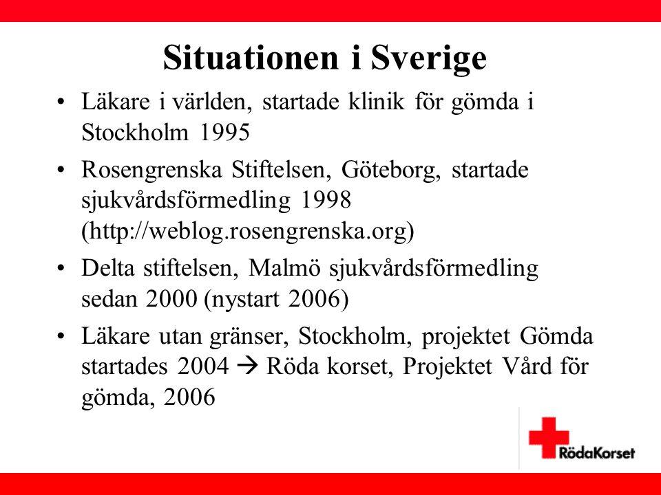 Situationen i Sverige Läkare i världen, startade klinik för gömda i Stockholm 1995.