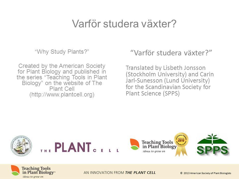 Varför studera växter
