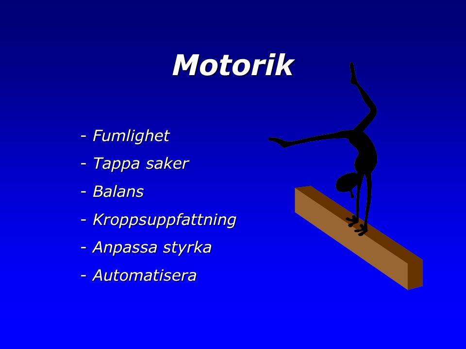Motorik Fumlighet Tappa saker Balans Kroppsuppfattning Anpassa styrka