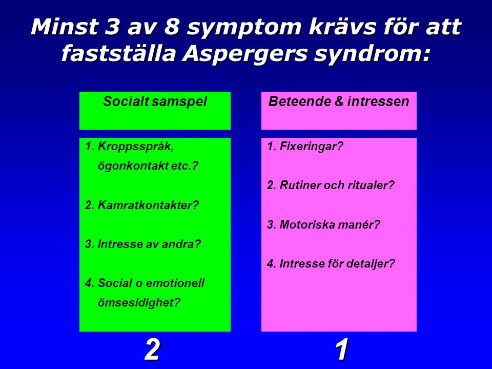 Minst 3 av 8 symptom krävs för att fastställa Aspergers syndrom: