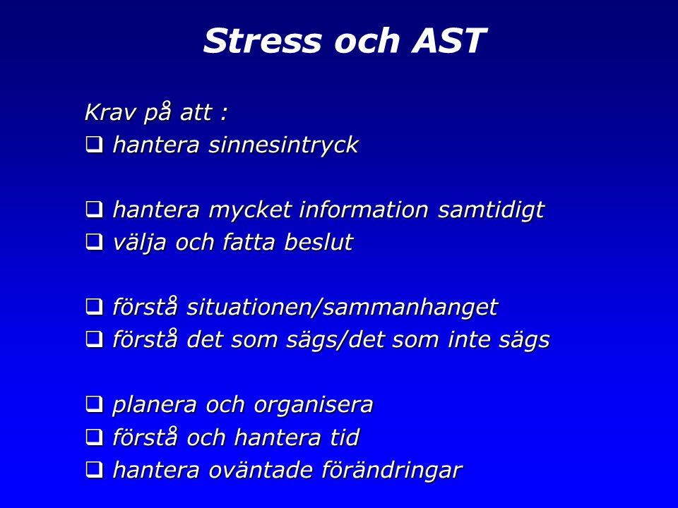 Stress och AST Krav på att : hantera sinnesintryck